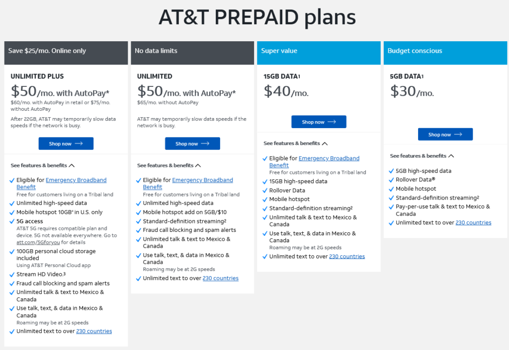 AT&T Cell Phone Plans